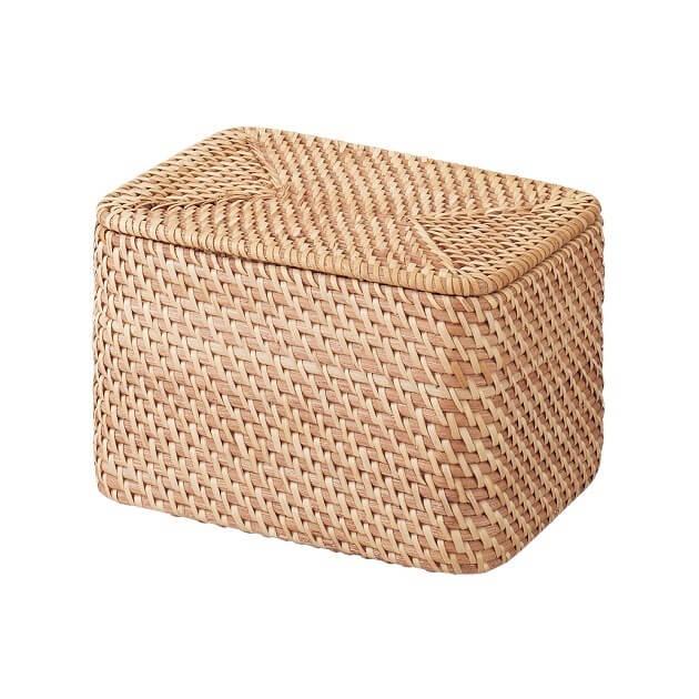 重なるラタン長方形ボックス・フタ付 (V)約幅26×奥行18×高さ16cm,おもちゃ,収納,無印