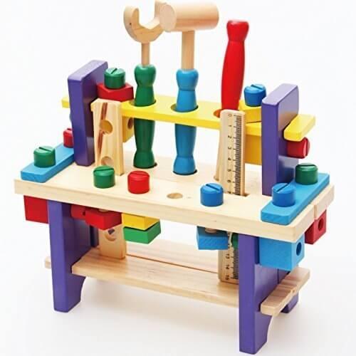 【知育玩具】 【木製おもちゃ】 組み立て工具 大工さんセット ワークベンチ ねじ遊び,1歳,おもちゃ,男の子