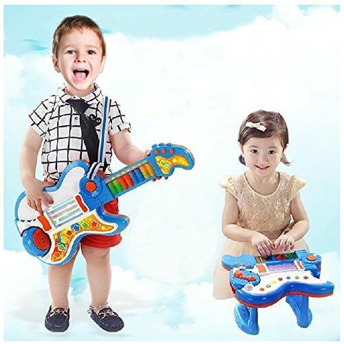Wishtime 日本初 2in1 ギター&ピアノ 楽器玩具 おもちゃ Rockin 音楽 電子 楽器 知育玩具 学園祭に大活躍 【お誕生日プレゼント】,1歳,おもちゃ,男の子