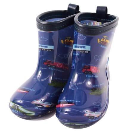 雨の日彩るKidsレインブーツ・長靴 アクセル全開はたらく車(ロイヤルブルー) N7700200,キッズ,長靴,