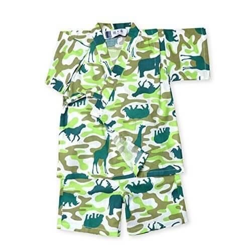 (グリーン/95cm) ベビー服 男の子 甚平 綿100% アニマル 迷彩柄 ポケット付 上下組セット 男児 ベビー,男の子,甚平,