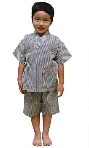 日本製 綿の郷 ヒッコリー柄ちぢみ織カジュアル甚平,男の子,甚平,
