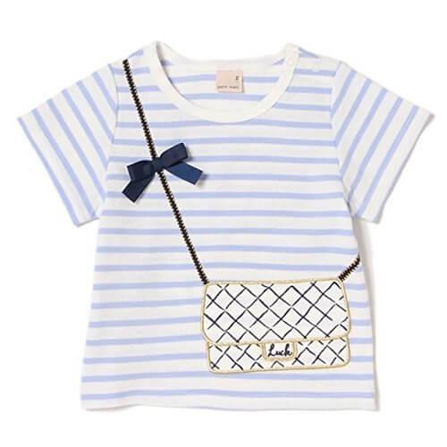 プティマイン(petit main) バッグトロンプルイユボーダーTシャツ【Mブルー/80(001)】,リンクコーデ,