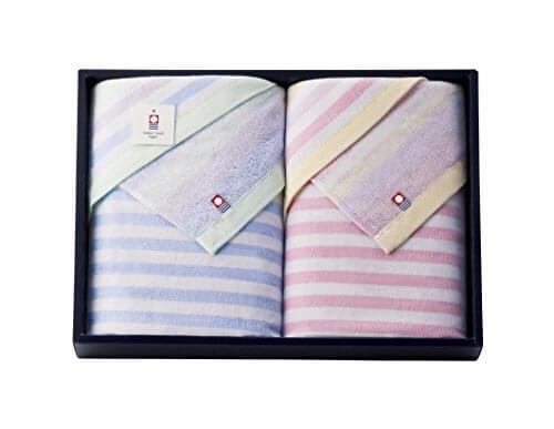 imabari towel (今治タオル) ガーゼとパイルの今治産たおる バスタオル 2枚セット ブルー&ピンク,今治タオル,内祝い,
