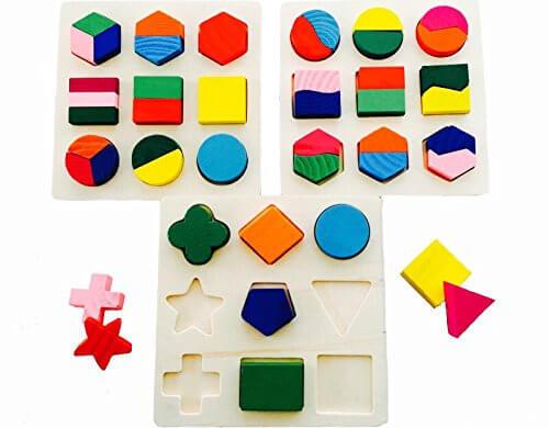 木のぬくもり 優しい パズル 3点セット 考える力 トレーニング カラフル おもちゃ 知育玩具 積み木 幼児 子供 教育 教材 形合わせ,子ども,パズル,