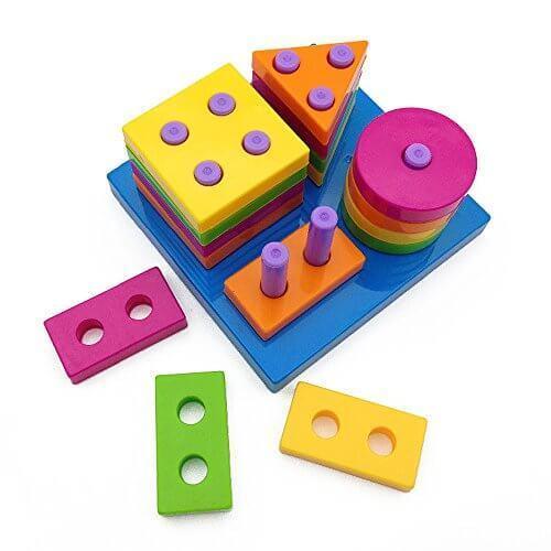 Happytime 型はめ パズル 形あわせ 赤ちゃん 幼児 子供 幾何形状 棒さし 知育 おもちゃ(男女共用、1歳から),知育,立体パズル,おもちゃ
