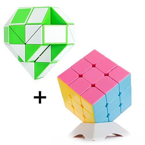 ルービックキューブ 2点セット 立体3×3×3とくねくね知育パズル キューブ形パズル 回転スムーズ スリキズし難い(2点セット緑),知育,立体パズル,おもちゃ