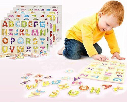 木製 型はめパズル アルファベットと数字のセット 知育に最適!はじめてのあそび道具,数字,おもちゃ,幼児