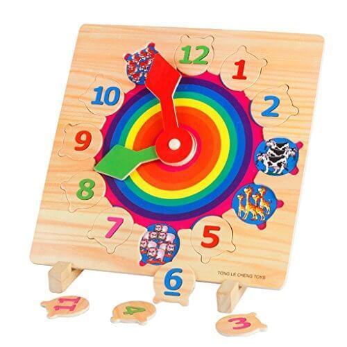 Better baby 木のおもちゃ 形合わせ 数字時計 幾何 はめ込み クロック パズル 幼児 知育玩具,数字,おもちゃ,幼児