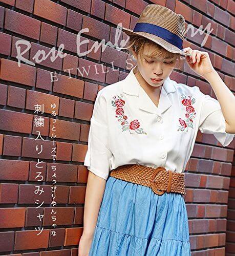 (イーザッカマニアストアーズ)e-zakkamania stores ローズエンブロイダリー とろみシャツ Mサイズ ブラック,刺繍,トップス,