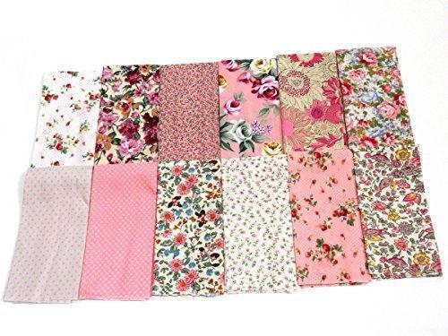 カットクロス 花柄 生地 ハギレ 24cm×24cm 12枚組 (ピンク),手作り,カード,