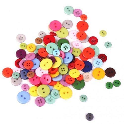 ノーブランド品 200個 キッズ 樹脂製 詰め合わせ 丸型 ボタン サイズミックス カラフル 裁縫,手作り,カード,