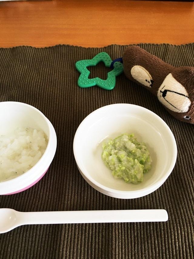 7か月離乳食。里芋と枝豆のペースト,離乳食,枝豆,