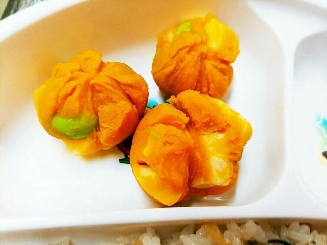 離乳食完了期~☆ゴロゴロかぼちゃ茶巾,離乳食,枝豆,