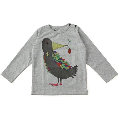 Mademoiselle papillon 長袖Tシャツ バード【ミスティグレーsize:90】,キッズ,Tシャツ,