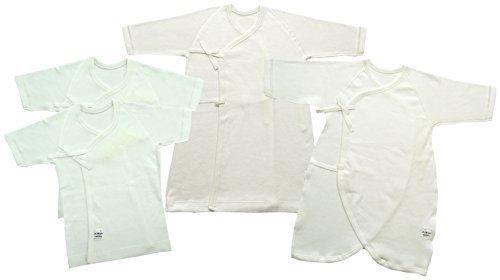 村信 ラ・モルフェ加工 スムース(厚手) 新生児肌着4点セット 50~60cm 白 NL20000-4 日本製,新生児肌着セット,