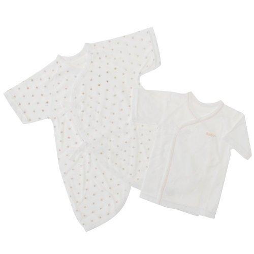 【日本製】パイル地新生児短肌着&コンビ肌着セット (ベージュ),新生児肌着セット,