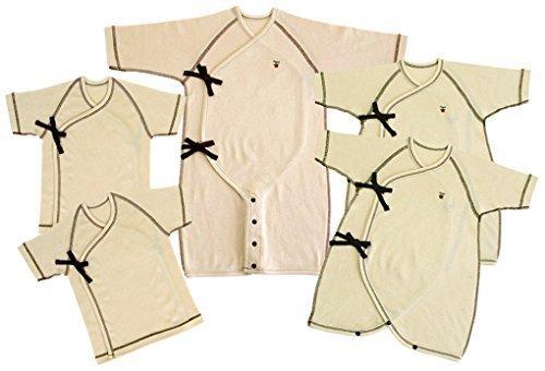 村信 日本製 オーガニックコットン 新生児肌着5点セット フライス 50-70cm NO10000-5,新生児肌着セット,