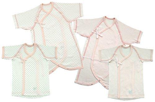 ベビーストーリー 日本製 立体裁断 新生児肌着4点セット 水玉&無地 メルマ加工フライス 50-60cm ピンク EF1400-4,新生児肌着セット,