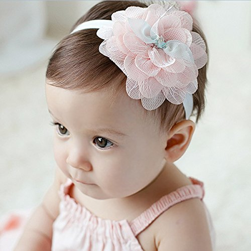 【二つセット】2015年新品♪赤ちゃんもオシャレに♪ ベビー キッズ ヘアバンド レース 可愛いお花 (ピンク),ベビー,ヘアアクセサリー,