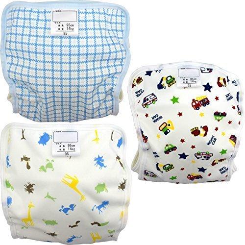 ベビー用おむつカバー ポリエステル素材 3枚組 チェック・アニマル・のりもの 日本製 (男の子,80cm),布おむつ,カバー,おすすめ