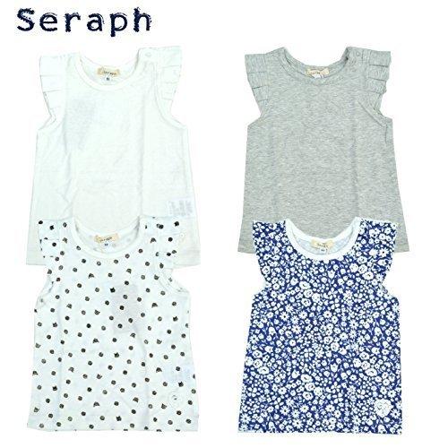 Seraph セラフ 肩フリルタンクトップ S310017 女の子 トップス Tシャツ フリル (130cm, ブラック),キッズ,タンクトップ,