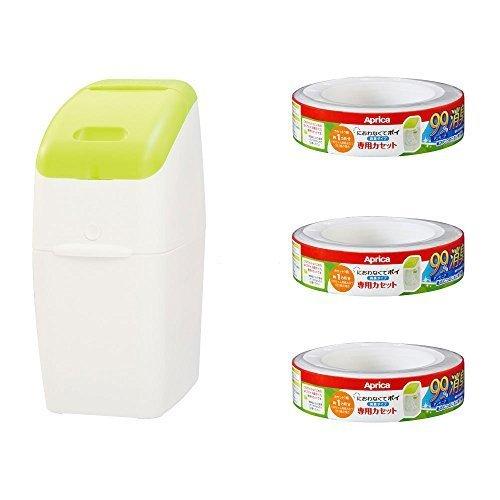 アップリカ 紙おむつ処理ポット におわなくてポイ 消臭タイプ バリューパック 09122 「消臭」・「抗菌」・「防臭」可 【お得なカセット3個付】,おむつ,ゴミ箱,おすすめ