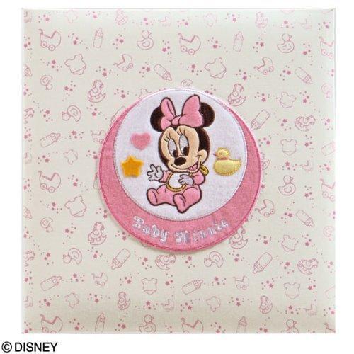 【お子様の誕生記念に刺繍アルバムを作成致します/ア-LB-617-2】フエルアルバム ディズニー (フレンズ/ミニー) Lサイズ ピンク,出産祝い,名前入り,