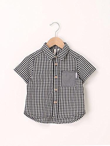 (ラーゴム) LAGOM ギンガムチェック半袖シャツ ブラック 120,子供服,シャツ,