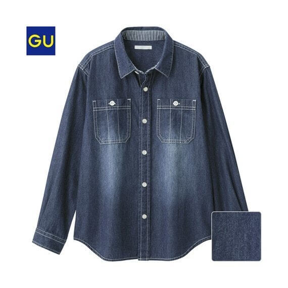 GU)デニムシャツ(長袖),子供服,シャツ,