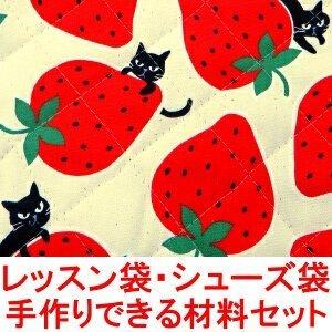 イチゴ柄 ネコ柄 イチゴ ネコ 柄 レッスンバッグ シューズバッグ の 手作り材料セット (シューズ袋の大きさ:小) (作り方付き) (画像に詳細説明),レッスンバッグ,女の子,