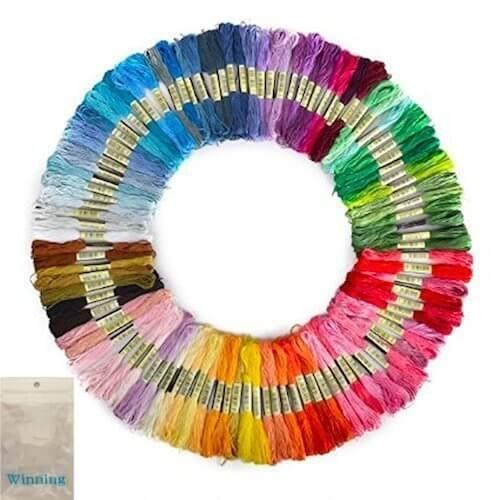 Winning 刺しゅう糸 まとめ買い オリジナルセット 98色 100束 6本綴 600本 糸巻き板付き,幼稚園,バッグ,手作り
