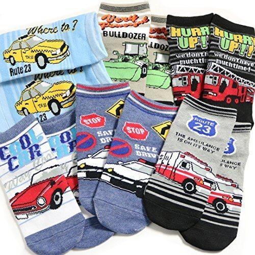 靴下 キッズ 男の子 ソックス 6足セット 乗り物デザインシリーズ 16-21cm対応サイズ,ソックスbox408,