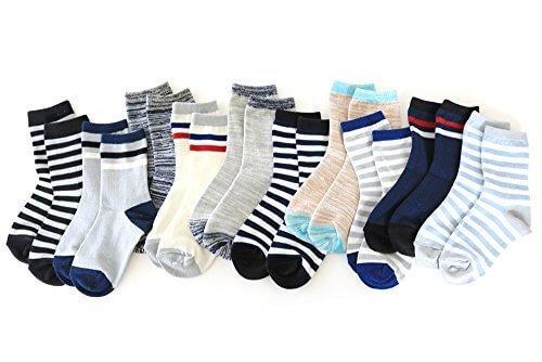 靴下 キッズ 男の子 ボーダー・ライン・ミックスカラー ベーシックデザインがオシャレ クルー丈 10足セット (16-21cm),ソックスbox408,