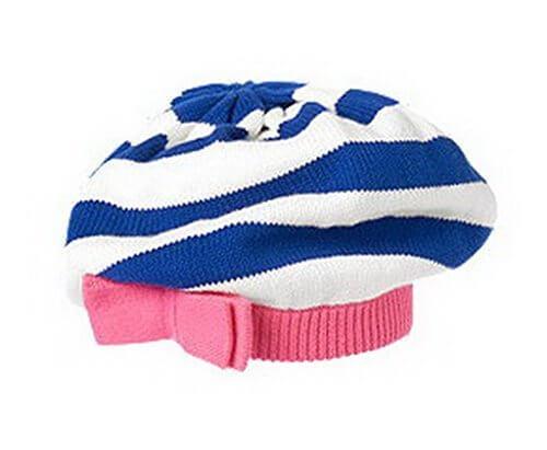 (ビグッド)Bigood 可愛い リボン 帽子 赤ちゃん ベビーニット帽 ベレー帽 新生児 ワッチキャップ キッズ 女の子 秋冬 子供 ニットキャップ ボーダーM,ベビー,ベレー帽,おすすめ