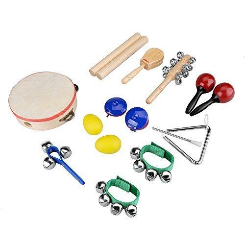 INNOCHEER ドラムセット おもちゃ 楽器 太鼓セット 音楽玩具 知育玩具 子供おもちゃ 子供プレゼント 幼児 幼児楽器 リズム ジャズ  キッズ/子供/ベビー/お子様 プレゼント 祝い 贈り ギフト 10 点セット,おもちゃ,おすすめ,