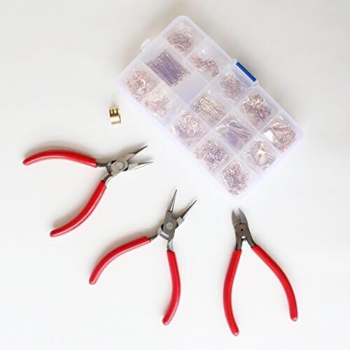 アクセサリーパーツと工具の18種セット ハンドメイド DIY 基礎金具 材料 素材 初心者 スターター セット キット,ハンドメイド,ピアス,