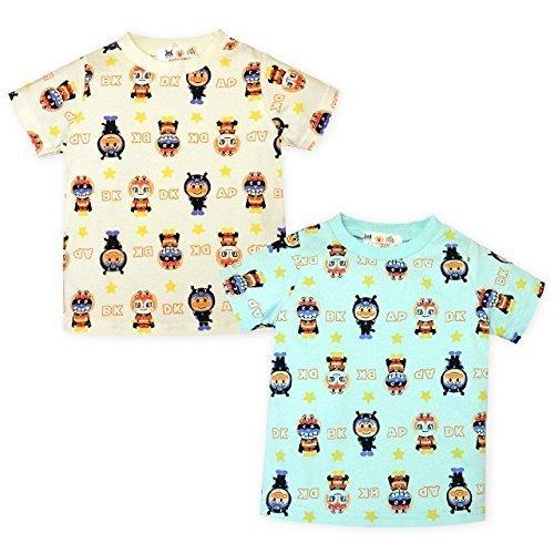 (サックス/95cm)ベビー服 男の子 Tシャツ アンパンマン 半袖 UV加工 綿100% 着ぐるみ総柄プリント 男児 ベビー,UVカット,子供服,