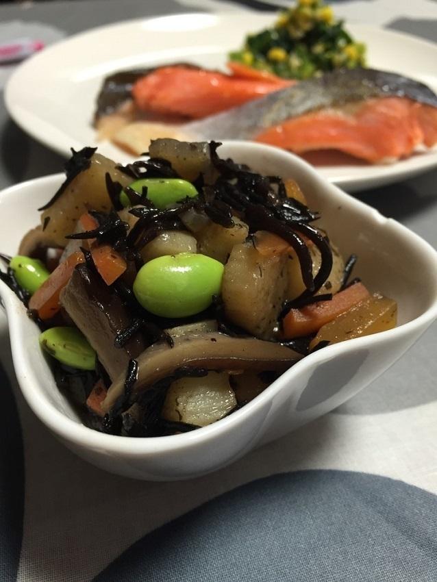 ほくほく山芋とヒジキの煮物〜離乳食完了期,離乳食,枝豆,