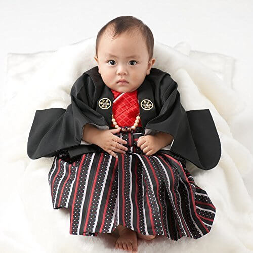 男の子ベビー着物セット 羽織袴 黒・赤 100日-1才(60-70cm),赤ちゃん,着物,