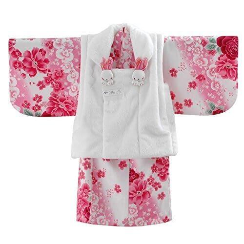 女の子ベビー着物 ボア被布セット ポリエステル 白ピンク/バラ 1才(80cm-90cm) 中国製,赤ちゃん,着物,