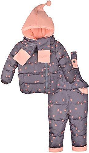 ZOEREA(ゾエレア) 子供ダウンジャケット 3点セット服 上着+ズボン+マフラー フード付き 長袖 ベビー綿コート 誕生日 秋冬 防寒 通学 男の子 女の子アウターウェア サロペット子供 マフラー グレー 100,ベビー,アウター,おすすめ