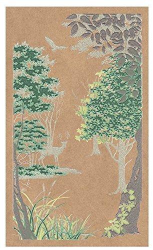 ほつま高蒔絵シール 森と鹿 (緑),手作り,スマホケース,