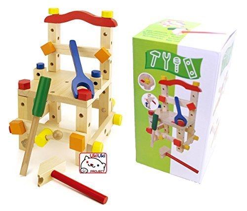 知育玩具 木製おもちゃ 組み立て イス 大工さんセット 39ピース,赤ちゃん,おもちゃ,木