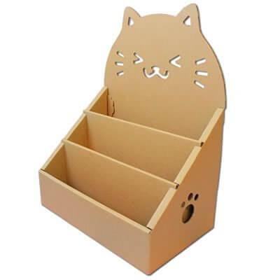 ネコ絵本ラック にこにゃん ダンボール 日本製,ダンボール家具,