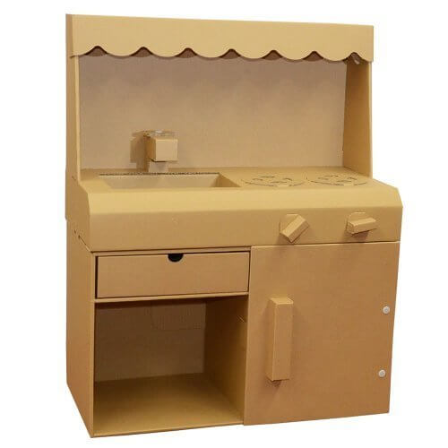 ダンボール製おままごとキッチン茶,ダンボール家具,