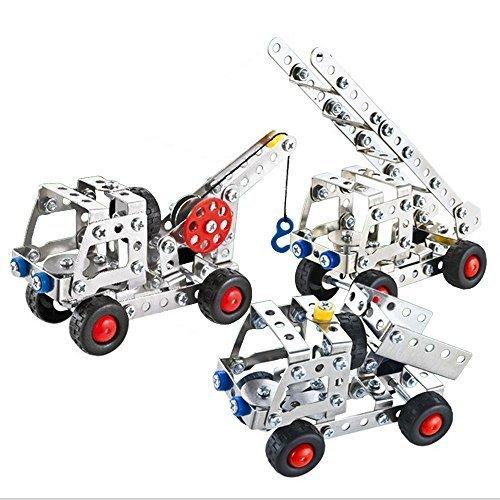 Happytime 3in1 金属 工事車 アイテム 137pcsセット 金具組立てキット 3Dパズル 6歳から 幼児 子ども キッズ 知育 おもちゃ【お誕生日プレゼント 子供の日】,5歳,おもちゃ,男の子