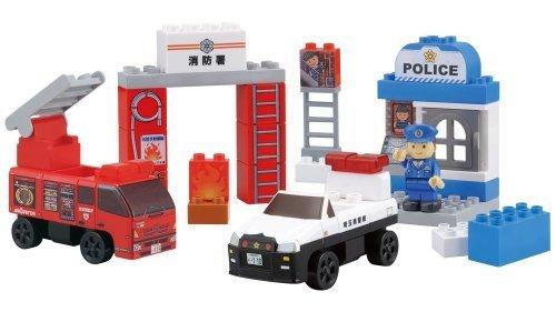 BlockLabo ブロックラボ ビークルブロック パトカーと消防車ブロックバケツ,子ども,積み木,おすすめ