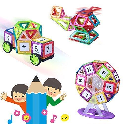Kingstarマグネットブロック おもちゃ 車セット/かんらんしゃセット子供102ピースケース付き 創造力育てる 磁石 想像力 知育玩具パワークリックス,子ども,積み木,おすすめ
