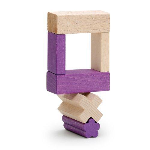 Erzi ドイツ製 木のおもちゃ ミックスつみき ライラック 3cm基尺ブロックが56ピース 美しい色と木肌色の2色,子ども,積み木,おすすめ